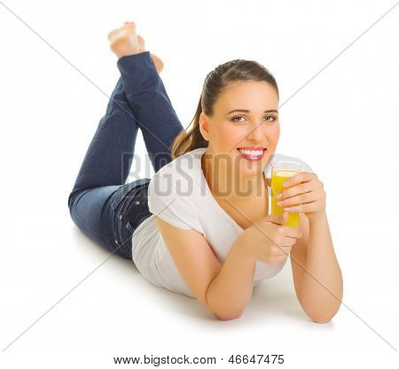 Young girl with orange juice isolated