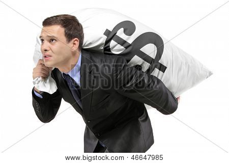 A businessman carrying a money bag with US dollar sign isolated against white background