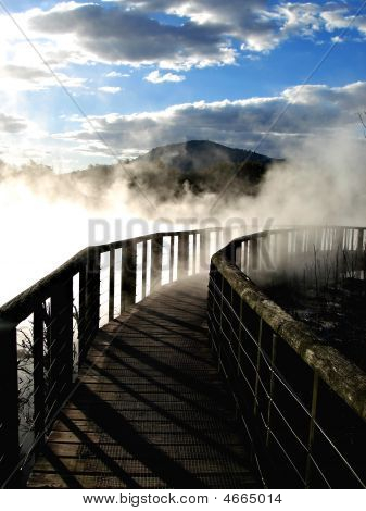 Bridge Over Geothermal Activity, New Zealand