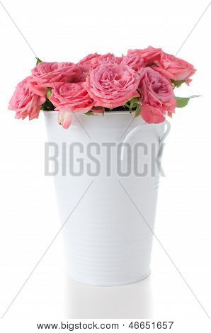Pink Roses With Buds In A Vase