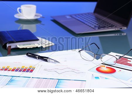 Business papers on the work place