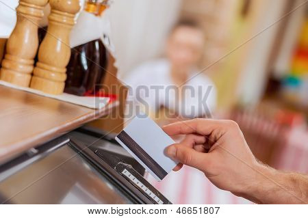 Close-up of cashier hands