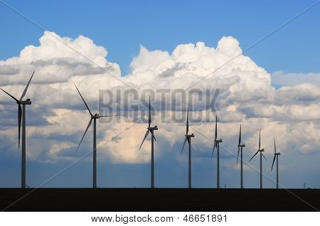 Wind Generators Silhouetted In The Evening