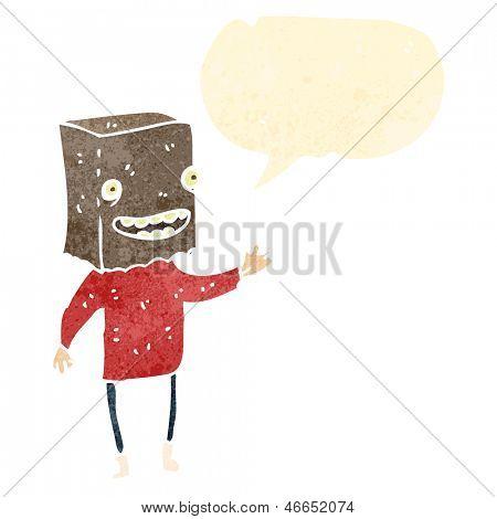 retro cartoon ugly man with bag on head