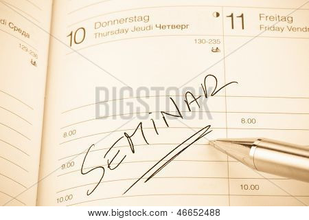 a date is entered in a calendar: seminar