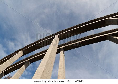 the high of a highway bridge from below. tauern motorway in austria