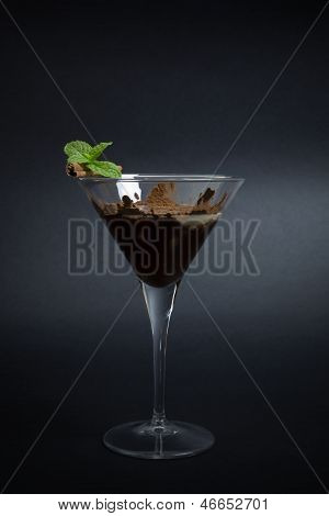 Chocolate Based Cocktail Isolated On Dark Background