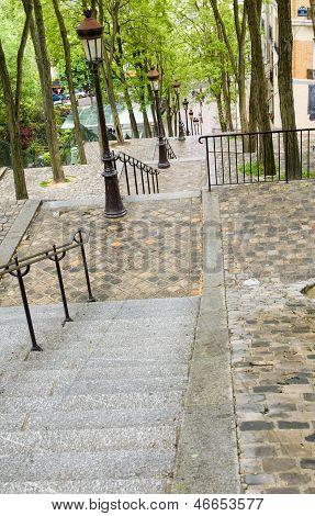 Tiled Steps Butte Walk Up To Top Of Basilica Sacre Coeur Sacred Heart In Montmartre Paris France