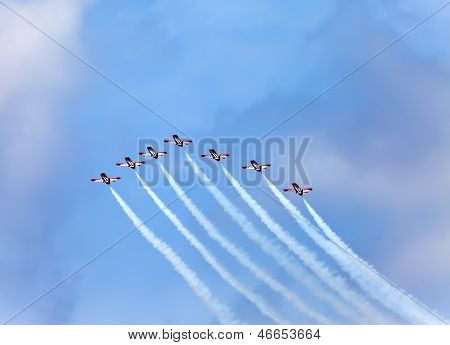 BARCELONA- MAY 9: Air show during The Formula 1 Grand Prix at autodrome