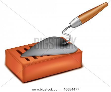 brick with a trowel. Rasterized illustration. Vector version in my portfolio