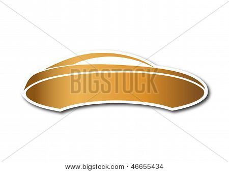Golden auto logo over white board