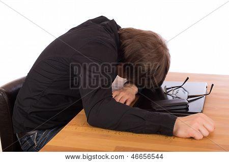 Business Man Sleep On His Laptop