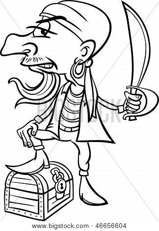 Pirate With Treasure For Coloring Book