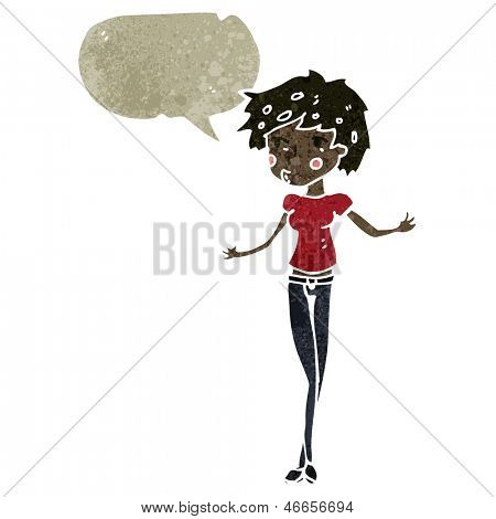 retro cartoon skinny woman