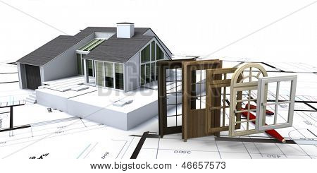 House on blueprints with a choice of windows and doors