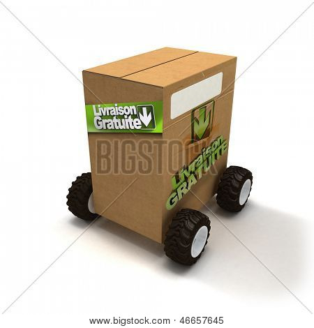 3D rendering of a Brown cardboard box with wheels and a sign advertision Livraison gratuite, free delivery in French