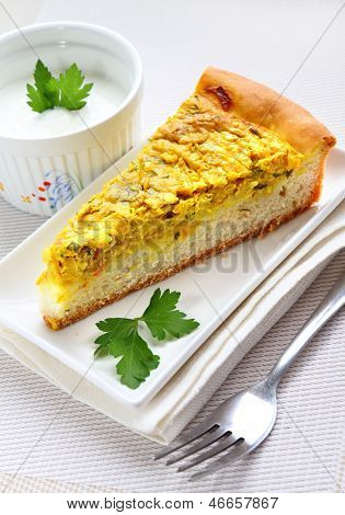 Tart With Onions, Cheese And Turmeric