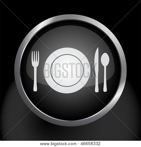 Plate Setting with Fork Knife and Spoon Icon