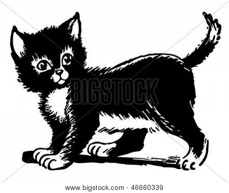 Adorable Kitten - Retro Clip Art Illustration
