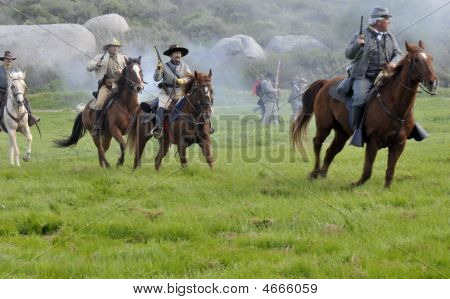 Confederate Cavalry In Battle