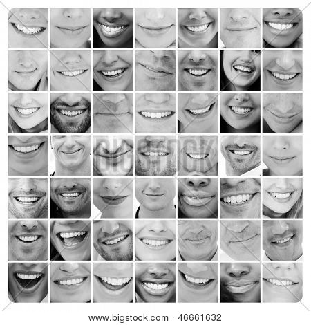 Collage of bright smiles in black and white