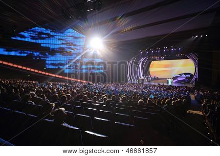 MOSCOW - OCTOBER 14: Spotlight, audience and stage at concert of Edyta Piecha at Kremlin Palace, October 14, 2012 in Moscow, Russia. Singer during her lifetime became owner of large number of awards.