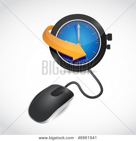 Watch Sign And Mouse Illustration Design