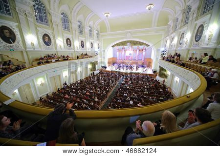MOSCOW - OCT 4: Gala evening dedicated to 100th anniversary of All-Russian Museum Association of Musical Culture Glinka at Moscow Tchaikovsky Conservatory (view from porter), Oct 4 2012 Moscow Russia.