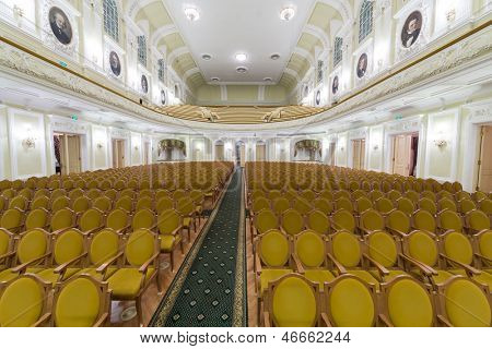 MOSCOW - OCT 4: Hall of the Moscow Tchaikovsky Conservatory (view from the scene) on October 4, 2012 in Moscow, Russia.