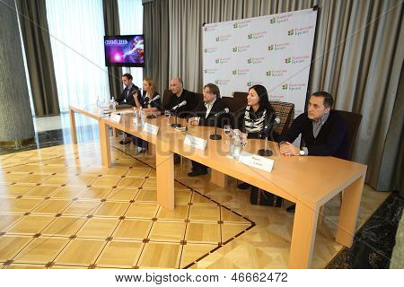 MOSCOW - SEP 27: Press conference of artists and organizers of grand presentation of our time - show Judgment Day in Diplomatic foyer of State Kremlin Palace on September 27, 2012 in Moscow, Russia.