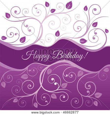 Happy Birthday card with pink and purple swirls and leaves. This image is a vector illustration.