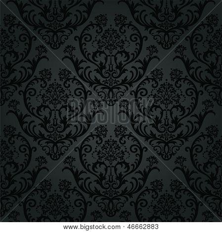 Patrón de papel tapiz floral carbón negro de lujo. Esta imagen es una ilustración del vector.