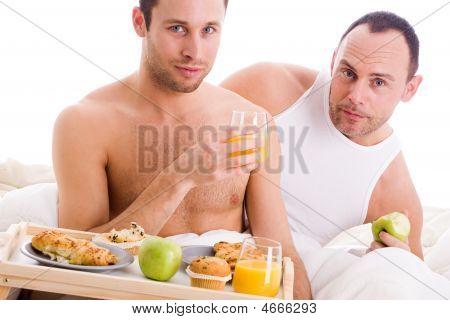 Homo Couple Enjoy Their Breakfast