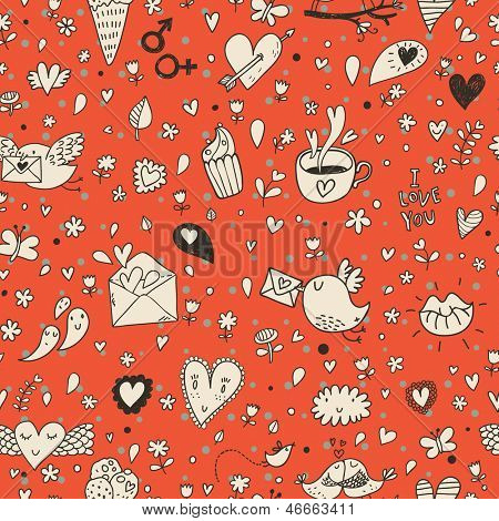 Tasty concept romantic wallpaper with birds, evelopes, cupcakes and coffee. Seamless pattern can be used for wallpapers, pattern fills, web page backgrounds,surface textures