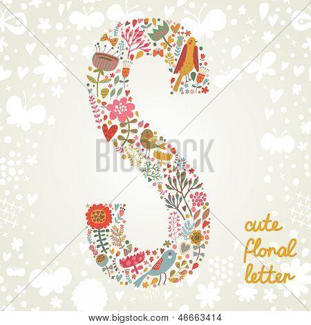 De letter S. Bright floral element van kleurrijke alfabet gemaakt?van vogels, bloemen, bloemblaadjes, harten