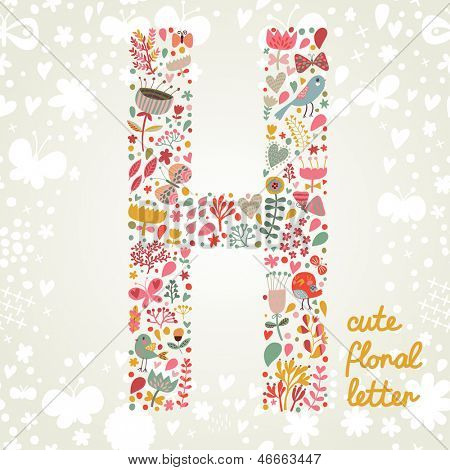 The letter H. Bright floral element of colorful alphabet made ??from birds, flowers, petals, hearts and twigs. Summer floral ABC element in vector