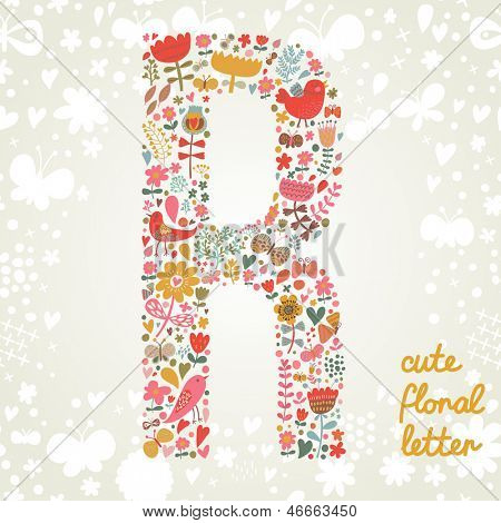 The letter R. Bright floral element of colorful alphabet made ??from birds, flowers, petals, hearts and twigs. Summer floral ABC element in vector