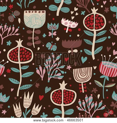Bright floral background in romantic style with small butterflies and pomegranates. Seamless pattern can be used for wallpapers, pattern fills, web page backgrounds,surface textures.