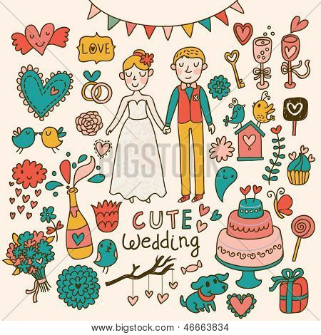 Wedding vector set. Cartoon illustration about marriage. Save the date invitation card with bride and groom, cake, birds, hearts, gifts, champagne, flowers, cute dog.