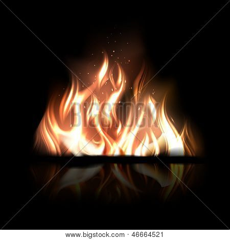 Vector illustration of burning fire on a black background