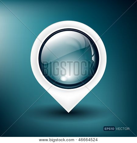 Vector illustration of a glossy map pointer on a blue background