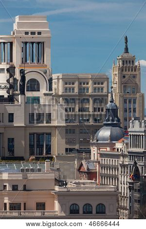 Madrid / Spain / Historic Buildings in the center of the city,  Calle Gran Via