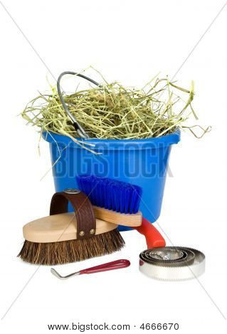 Horse Grooming Tools And Hay