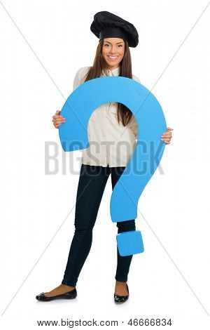 Female Chef Holding Question Mark Sign Over White Background