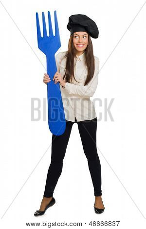 Female Chef Holding Fork Over White Background