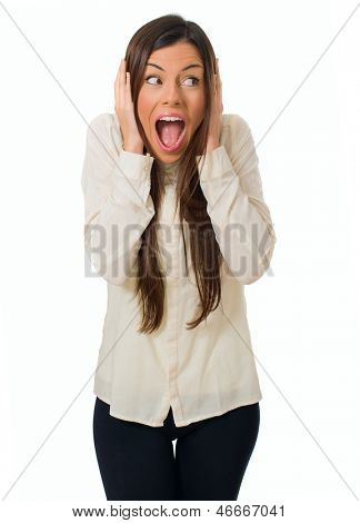 Portrait Of Young Woman Screaming Over White Background