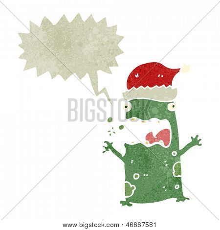screaming frog in christmas hat retro cartoon