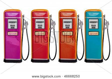 Several Color Of Old Classic Oil Distributor In Gasoline Station Isolated White