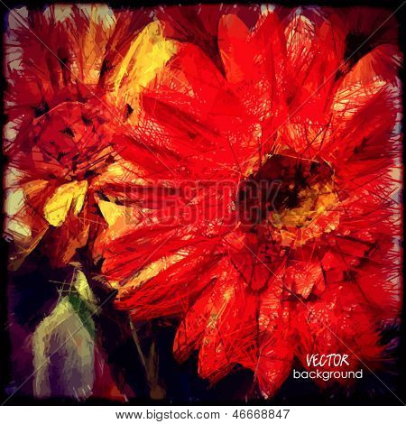 art grunge floral vintage background with gerbera for family holidays