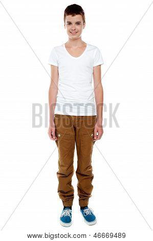 Full Length Shot Of Trendy Young Caucasian Boy